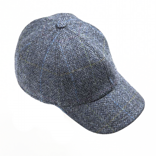 Baseball Tweed Cap - Blue & Grey (H84)